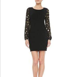 EUC DVF Alagna Long Sleeve Black Dress w/Gold Leaf